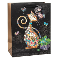 Happy Cat Gift Bags, Gold Foil Art 26 x 32 x 13cm LARGE, Pack of 3